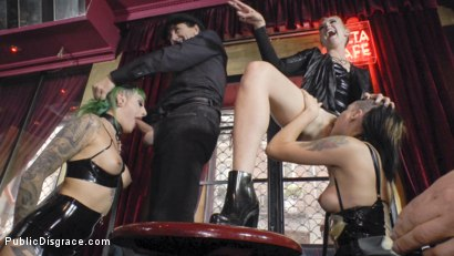 Photo number 18 from Two Slutty Whores Disgraced in Spanish Extreme Public Orgy! shot for Public Disgrace on Kink.com. Featuring Steve Holmes, Mona Wales, Satrina, Xavi Tralla and Lola in hardcore BDSM & Fetish porn.