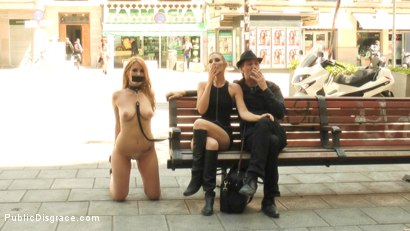 Photo number 5 from Fully Nude Bondage Slut Services Public Disgrace shot for Public Disgrace on Kink.com. Featuring Steve Holmes, Mona Wales, Hanna Montada and Xavi Tralla in hardcore BDSM & Fetish porn.