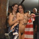 Juliette March humiliates herself fully nude in public and gets fucked hard at a crowded bar