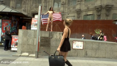 Photo number 5 from Slutty American Tourist Publicly Disgraces Herself!!! shot for Public Disgrace on Kink.com. Featuring Mona Wales, Juliette March and Xavi Tralla in hardcore BDSM & Fetish porn.