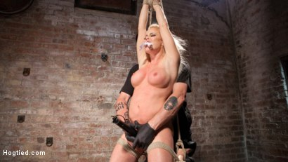 Photo number 4 from Blonde Bombshell Explodes in Extreme Bondage!! shot for Hogtied on Kink.com. Featuring Nikki Delano in hardcore BDSM & Fetish porn.