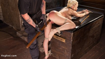 Photo number 7 from Blonde Bombshell Explodes in Extreme Bondage!! shot for Hogtied on Kink.com. Featuring Nikki Delano in hardcore BDSM & Fetish porn.