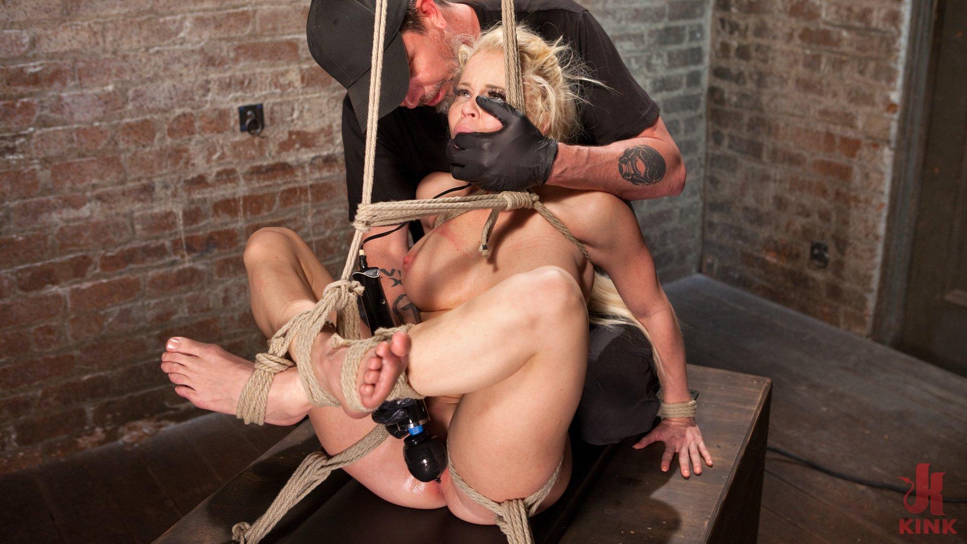 Photo number 14 from Blonde Bombshell Explodes in Extreme Bondage!! shot for Hogtied on Kink.com. Featuring Nikki Delano in hardcore BDSM & Fetish porn.