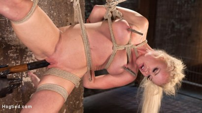 Photo number 15 from Blonde Bombshell Explodes in Extreme Bondage!! shot for Hogtied on Kink.com. Featuring Nikki Delano in hardcore BDSM & Fetish porn.