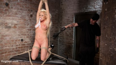Photo number 3 from Blonde Bombshell Explodes in Extreme Bondage!! shot for Hogtied on Kink.com. Featuring Nikki Delano in hardcore BDSM & Fetish porn.