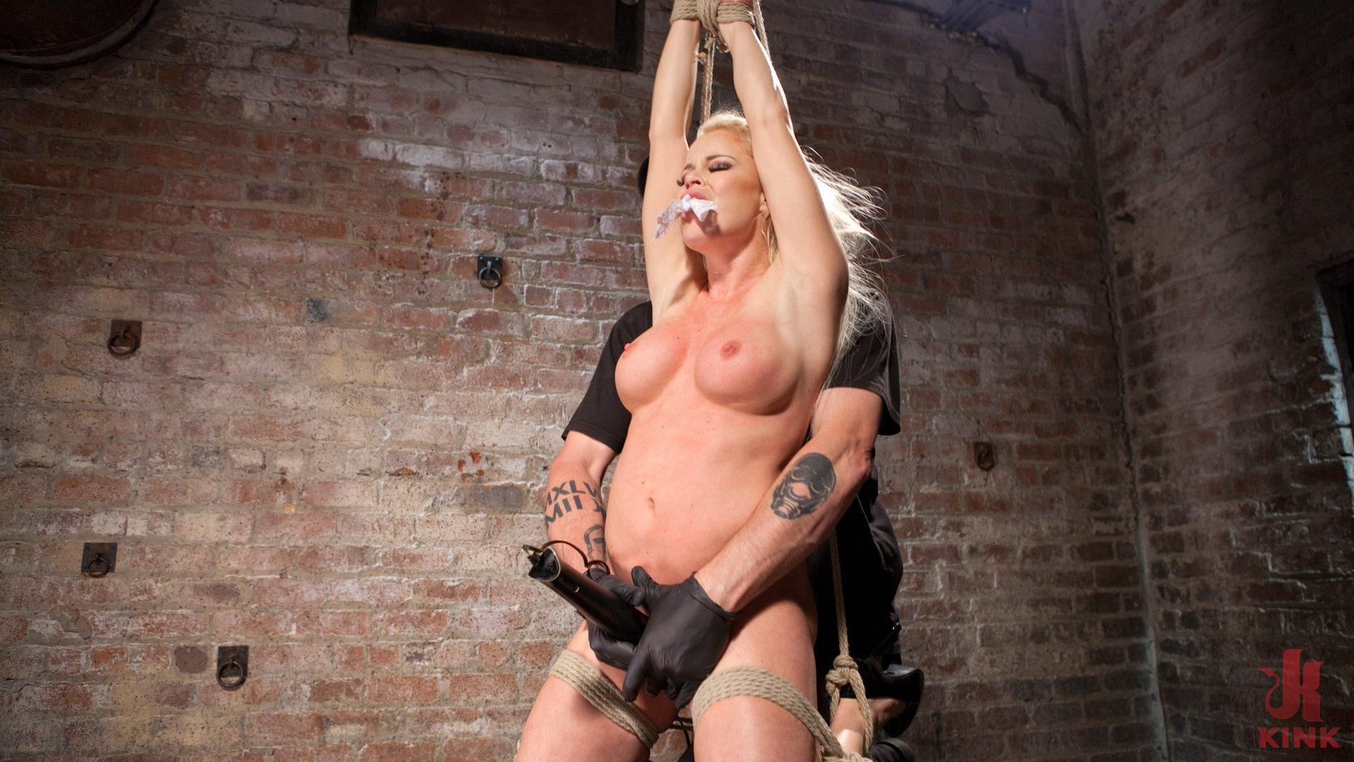 Photo number 4 from Blonde Bombshell Explodes in Extreme Bondage!! shot for Hogtied on Kink.com. Featuring Nikki Delano in hardcore BDSM & Fetish porn.