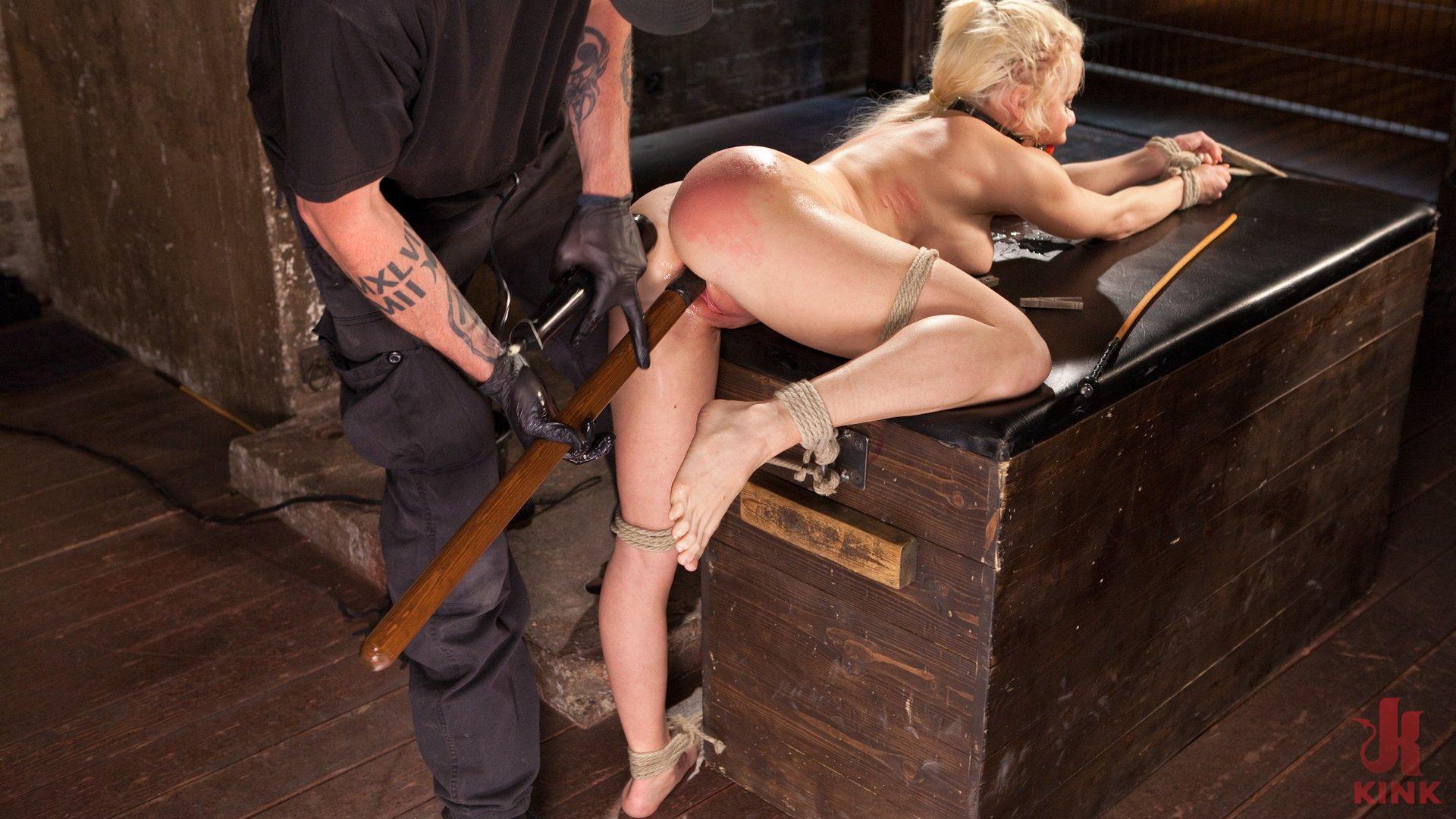 Photo number 7 from Blonde Bombshell Explodes in Extreme Bondage!! shot for Hogtied on Kink.com. Featuring Nikki Delano in hardcore BDSM & Fetish porn.