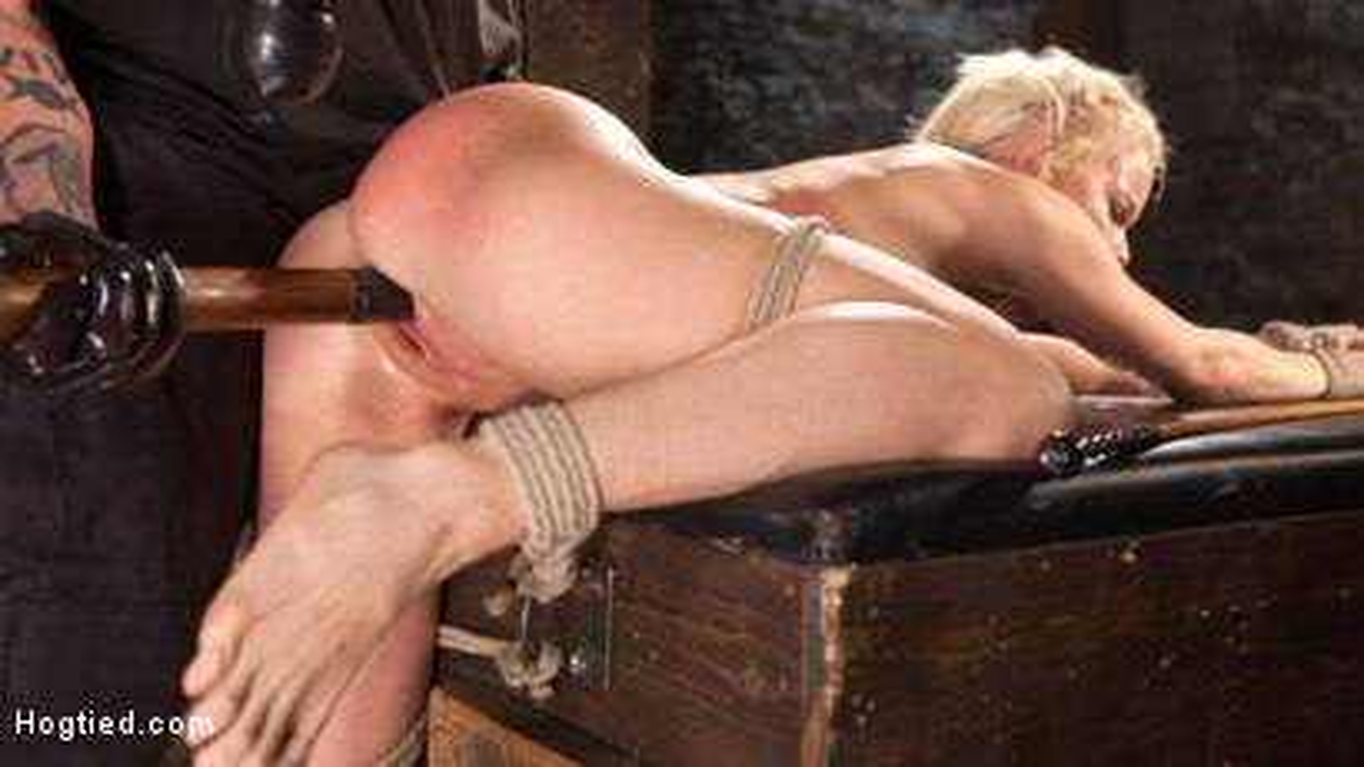 Photo number 8 from Blonde Bombshell Explodes in Extreme Bondage!! shot for Hogtied on Kink.com. Featuring Nikki Delano in hardcore BDSM & Fetish porn.
