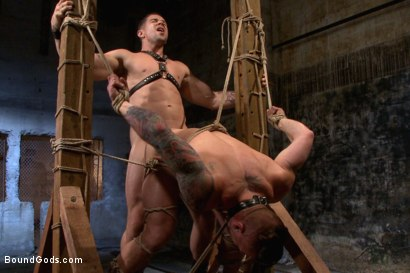 Photo number 14 from Muscled leather hunk at the mercy of Mr. Ducati shot for Bound Gods on Kink.com. Featuring Trenton Ducati and Hugh Hunter in hardcore BDSM & Fetish porn.