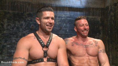 Photo number 15 from Muscled leather hunk at the mercy of Mr. Ducati shot for Bound Gods on Kink.com. Featuring Trenton Ducati and Hugh Hunter in hardcore BDSM & Fetish porn.
