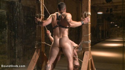 Photo number 11 from Muscled leather hunk at the mercy of Mr. Ducati shot for Bound Gods on Kink.com. Featuring Trenton Ducati and Hugh Hunter in hardcore BDSM & Fetish porn.