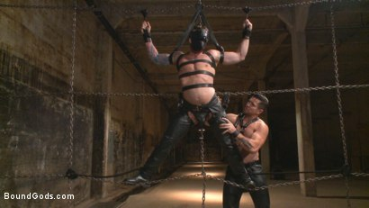 Photo number 2 from Muscled leather hunk at the mercy of Mr. Ducati shot for Bound Gods on Kink.com. Featuring Trenton Ducati and Hugh Hunter in hardcore BDSM & Fetish porn.