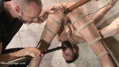 Photo number 12 from First timer with a giant cock gets suspended and edged above the drill court shot for Men On Edge on Kink.com. Featuring Dean Brody in hardcore BDSM & Fetish porn.