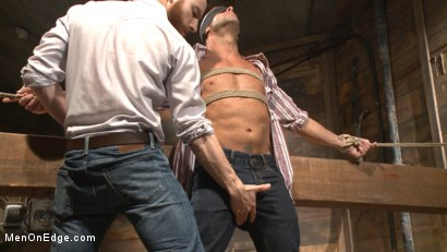 Photo number 3 from Hot cowboy tied up for the first time and shoots a load onto his face! shot for Men On Edge on Kink.com. Featuring Coby Mitchell in hardcore BDSM & Fetish porn.