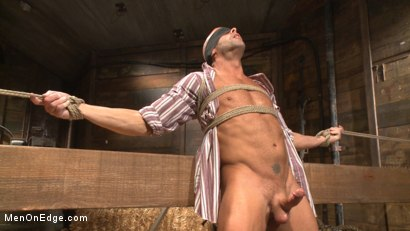 Photo number 6 from Hot cowboy tied up for the first time and shoots a load onto his face! shot for Men On Edge on Kink.com. Featuring Coby Mitchell in hardcore BDSM & Fetish porn.