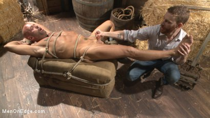 Photo number 8 from Hot cowboy tied up for the first time and shoots a load onto his face! shot for Men On Edge on Kink.com. Featuring Coby Mitchell in hardcore BDSM & Fetish porn.