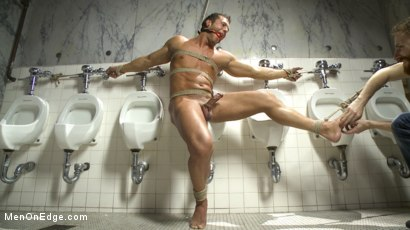 Photo number 12 from College jock gets a crash course in edging while bound to the urinals shot for Men On Edge on Kink.com. Featuring Rod Pederson in hardcore BDSM & Fetish porn.