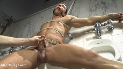 Photo number 13 from College jock gets a crash course in edging while bound to the urinals shot for Men On Edge on Kink.com. Featuring Rod Pederson in hardcore BDSM & Fetish porn.