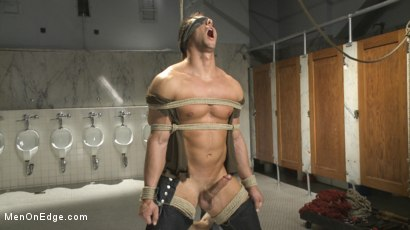 Photo number 3 from College jock gets a crash course in edging while bound to the urinals shot for Men On Edge on Kink.com. Featuring Rod Pederson in hardcore BDSM & Fetish porn.