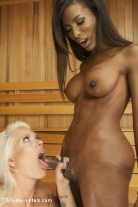 Photo number 1 from Sauna Stranger Surprise shot for TS Pussy Hunters on Kink.com. Featuring Natassia Dreams and Holly Heart in hardcore BDSM & Fetish porn.