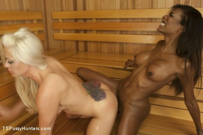 Photo number 3 from Sauna Stranger Surprise shot for TS Pussy Hunters on Kink.com. Featuring Natassia Dreams and Holly Heart in hardcore BDSM & Fetish porn.