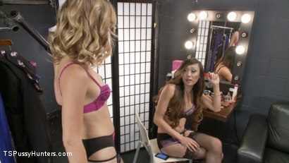 Photo number 1 from Backstage Cat fight turns into hard core TS cock sucking and fucking shot for TS Pussy Hunters on Kink.com. Featuring Venus Lux and Mona Wales in hardcore BDSM & Fetish porn.