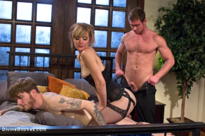 Photo number 12 from Honeymoon Humiliation: Wife Cuckolds New Hubby Into Better Sex shot for Divine Bitches on Kink.com. Featuring Connor Maguire, Mona Wales and Patrick Knight in hardcore BDSM & Fetish porn.