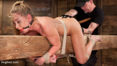 Photo number 4 from California Girl Turned Into a California Slut in Tight Bondage shot for Hogtied on Kink.com. Featuring Carter Cruise in hardcore BDSM & Fetish porn.