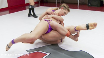 Photo number 4 from Season 12 Feather Weight Wrestling Championship shot for Ultimate Surrender on Kink.com. Featuring Juliette March, Mona Wales and Syd Blakovich in hardcore BDSM & Fetish porn.