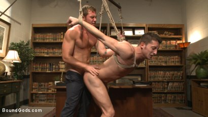 Photo number 9 from Hot Mormon Jock Fucked in Bondage to Prove His Devotion to the Church shot for Bound Gods on Kink.com. Featuring Connor Maguire and Drake Tyler in hardcore BDSM & Fetish porn.