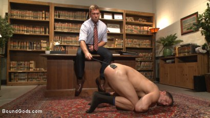 Photo number 4 from Hot Mormon Jock Fucked in Bondage to Prove His Devotion to the Church shot for Bound Gods on Kink.com. Featuring Connor Maguire and Drake Tyler in hardcore BDSM & Fetish porn.