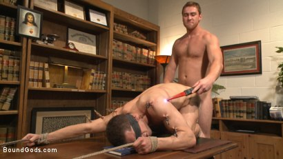 Photo number 10 from Hot Mormon Jock Fucked in Bondage to Prove His Devotion to the Church shot for Bound Gods on Kink.com. Featuring Connor Maguire and Drake Tyler in hardcore BDSM & Fetish porn.
