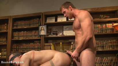 Photo number 11 from Hot Mormon Jock Fucked in Bondage to Prove His Devotion to the Church shot for Bound Gods on Kink.com. Featuring Connor Maguire and Drake Tyler in hardcore BDSM & Fetish porn.