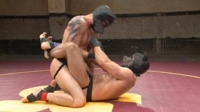 Photo number 3 from Brock Avery vs. Tyler Rush - The Dog Fight shot for Naked Kombat on Kink.com. Featuring Tyler Rush and Brock Avery in hardcore BDSM & Fetish porn.