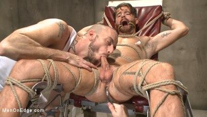Photo number 12 from Horny mental patient hallucinates a dual edging shot for Men On Edge on Kink.com. Featuring Brendan Patrick in hardcore BDSM & Fetish porn.