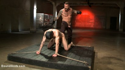 Photo number 7 from The Dog Catcher  shot for Bound Gods on Kink.com. Featuring Rocco Steele and Tryp Bates in hardcore BDSM & Fetish porn.