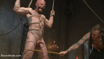 Photo number 9 from Christian Wilde beats the obedience back into a mouthy slave shot for Bound Gods on Kink.com. Featuring Christian Wilde and Brock Rustin in hardcore BDSM & Fetish porn.