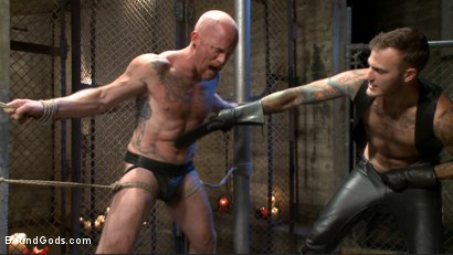 Photo number 3 from Christian Wilde beats the obedience back into a mouthy slave shot for Bound Gods on Kink.com. Featuring Christian Wilde and Brock Rustin in hardcore BDSM & Fetish porn.