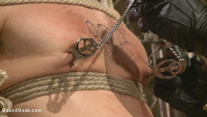 Photo number 4 from Connor Maguire tests his slave's hunger for pain shot for Bound Gods on Kink.com. Featuring Connor Maguire and Dylan Knight in hardcore BDSM & Fetish porn.