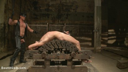 Photo number 9 from Connor Maguire tests his slave's hunger for pain shot for Bound Gods on Kink.com. Featuring Connor Maguire and Dylan Knight in hardcore BDSM & Fetish porn.