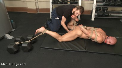 Photo number 7 from Pervy handyman has his way with a hot muscle god at the gym shot for Men On Edge on Kink.com. Featuring Mitch Vaughn in hardcore BDSM & Fetish porn.