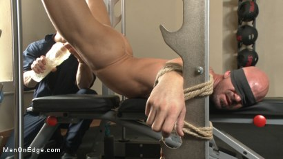 Photo number 5 from Pervy handyman has his way with a hot muscle god at the gym shot for Men On Edge on Kink.com. Featuring Mitch Vaughn in hardcore BDSM & Fetish porn.