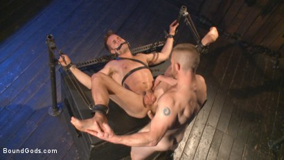 Photo number 11 from Tormented Without Mercy - Connor Patricks suffers tight metal bondage shot for Bound Gods on Kink.com. Featuring Adam Herst and Connor Patricks in hardcore BDSM & Fetish porn.