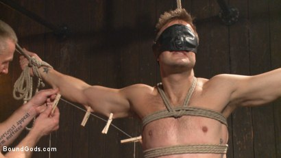 Photo number 4 from Tormented Without Mercy - Connor Patricks suffers tight metal bondage shot for Bound Gods on Kink.com. Featuring Adam Herst and Connor Patricks in hardcore BDSM & Fetish porn.