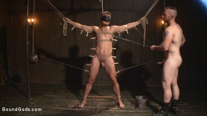 Photo number 5 from Tormented Without Mercy - Connor Patricks suffers tight metal bondage shot for Bound Gods on Kink.com. Featuring Adam Herst and Connor Patricks in hardcore BDSM & Fetish porn.