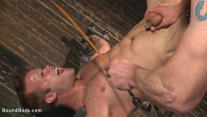 Photo number 6 from Tormented Without Mercy - Connor Patricks suffers tight metal bondage shot for Bound Gods on Kink.com. Featuring Adam Herst and Connor Patricks in hardcore BDSM & Fetish porn.