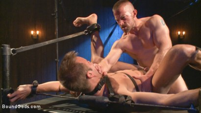 Photo number 13 from Tormented Without Mercy - Connor Patricks suffers tight metal bondage shot for Bound Gods on Kink.com. Featuring Adam Herst and Connor Patricks in hardcore BDSM & Fetish porn.