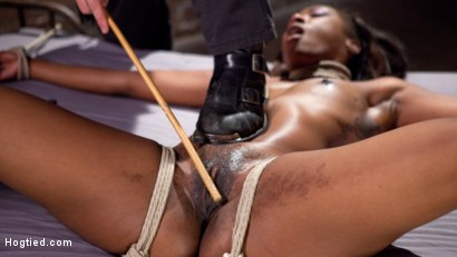 Photo number 10 from Ebony Super Slut in Tight Bondage, Grueling Punishment, and Mind Blowing Orgasms!!! shot for Hogtied on Kink.com. Featuring Chanell Heart and The Pope in hardcore BDSM & Fetish porn.