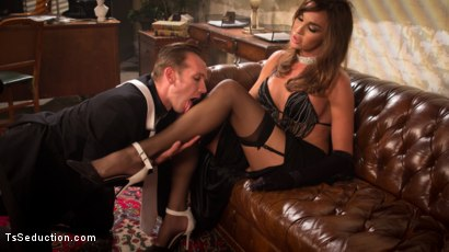 Photo number 3 from The Widow Walks: Debut of Jonelle Brooks, the Ultimate Femme Fatale shot for TS Seduction on Kink.com. Featuring Will Havoc and Jonelle Brooks in hardcore BDSM & Fetish porn.