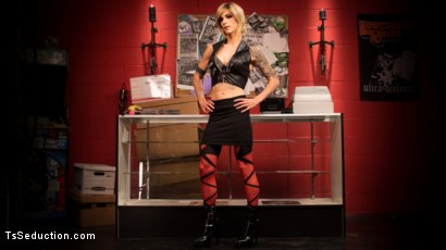 Photo number 1 from Rammed at the Record Store shot for TS Seduction on Kink.com. Featuring Nina Lawless and Corbin Dallas in hardcore BDSM & Fetish porn.